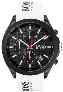 BOSS Men's Chronograph Velocity White Silicone Strap Watch 45mm