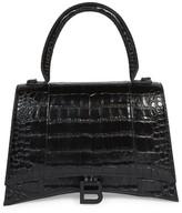 Balenciaga Medium Hourglass Croc-Embossed Leather Top Handle Bag