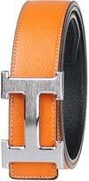 Moraner Golden fame New Designer H Buckle Belt, High Quality Luxury Men's Leather Waist Belts Silver buckle/orange 34in