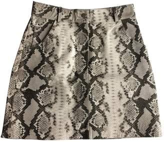 Maje Spring Summer 2019 Grey Leather Skirt for Women