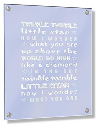 Camilla And Marc Feel Good Art Wall Mounted Acrylic Frame with Stand-Off Bolts (30 x 20 x 0.6 cm, Small, Baby Blue, Twinkle Twinkle Little Star/Nursery Rhyme, Nursery Dècor)