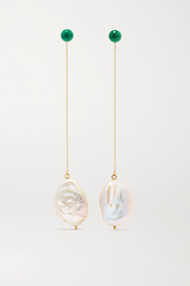 Mateo Duality 14-karat Gold Pearl And Malachite Earrings - one size