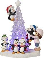 Precious Moments 171413 Girl & Penguins LED Light-Up Tree Figurine