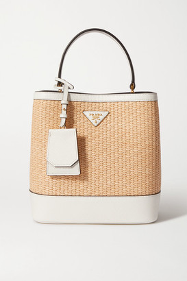 Prada Panier Small Textured Leather-trimmed Straw Tote - White