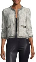 Cupcakes And Cashmere Belicia Round-Neck Tweed Jacket with Frayed Edges
