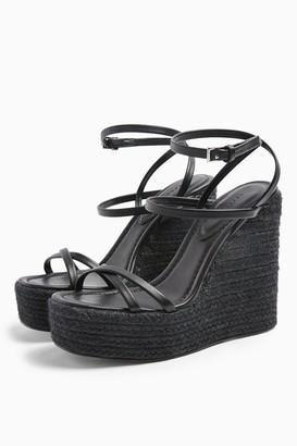 Topshop Womens Willa Black Wedge Sandals - Black