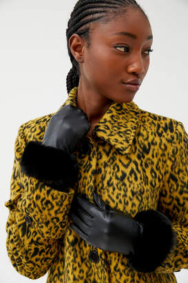 Urban Outfitters Faux Fur Trim Leather Glove