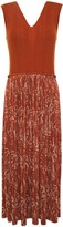 Nina Ricci Printed Crepe And Ribbed Wool And Silk-blend Midi Dress