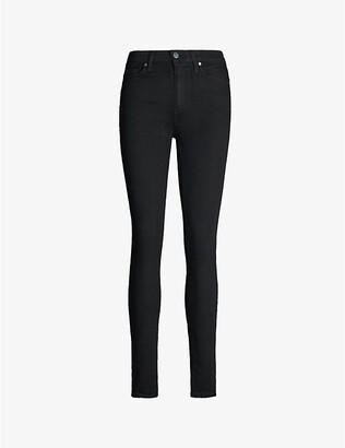 Paige Ladies Black Leather Denim Shadow Hoxton Skinny Mid-Rise Jeans, Size: 23