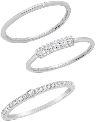 Sterling Forever Silver Cz Set Of Rings