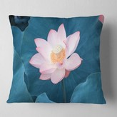 """Pink Lotus Blooming Flower Oversized Beach Pillow East Urban Home Size: 16"""" x 16"""", Product Type: Throw Pillow"""