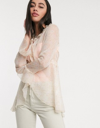 ZYA floaty festival blouse in sheer floral with tie front