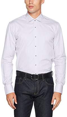 James Harvest Men's Long Sleeved Reno Shirt Regular Fit Plain Round Collar Long Sleeve Business Shirt,Large