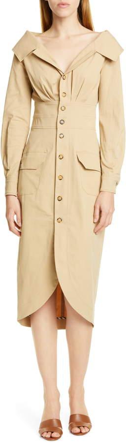 STAUD Jack Long Sleeve Midi Shirtdress