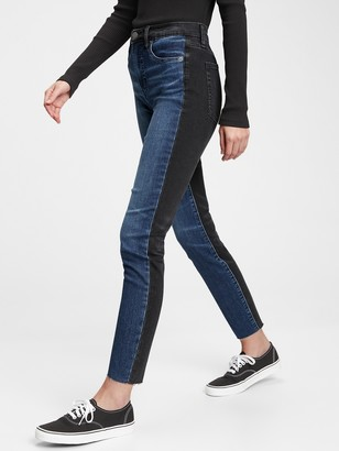 Gap High Rise True Skinny Ankle Two-Tone Jeans