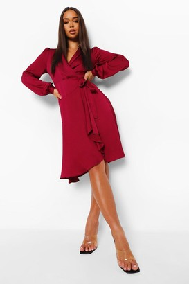 boohoo Wrap Over Ruffle Hem Belted Midi Dress