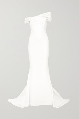 Cushnie Off-the-shoulder Crepe Gown - White