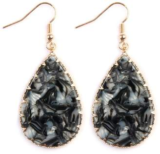 Riah Fashion Faceted Teardrop Marble-Earrings