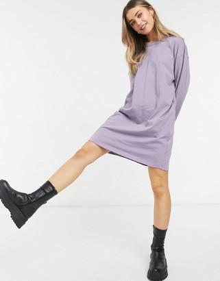 ASOS DESIGN oversized long sleeve t-shirt dress in purple ash
