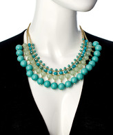 Blu Bijoux Gold And Turquoise Beaded Statement Necklace