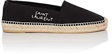 Saint Laurent Women's Logo-Embroidered Canvas Espadrilles - Black