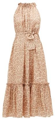 Zimmermann Kirra Leopard-print Silk-satin Maxi Dress - Womens - Leopard