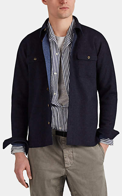 Barneys New York Men's Double-Faced Wool-Blend Felt Shirt Jacket - Navy