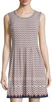 Max Studio Printed Pleated Sleeveless Dress, Navy/Cantaloupe