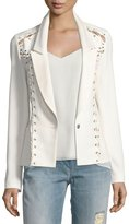 Haute Hippie Fitted Lace-Up One-Button Blazer, White