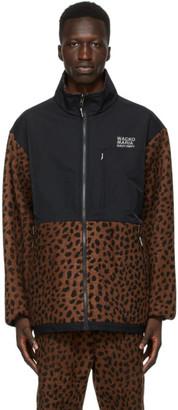 Wacko Maria Brown and Black Fleece Leopard Jacket