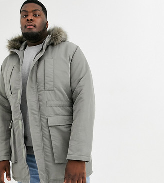 Asos DESIGN Plus parka jacket in gray with faux fur lining