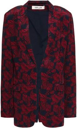 Diane von Furstenberg Printed Silk Crepe De Chine Blazer