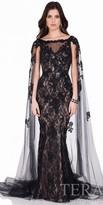 Terani Couture Floral Lace Applique Evening Dress