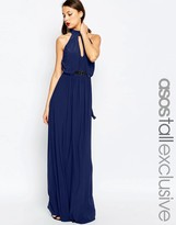 ASOS Tall ASOS TALL Halter Plunge Maxi Dress With Embellished Waist