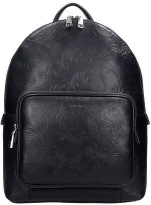 Versace Backpack In Black Leather