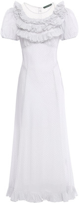 ALEXACHUNG Ruffled Broderie Anglaise-paneled Striped Voile Midi Dress
