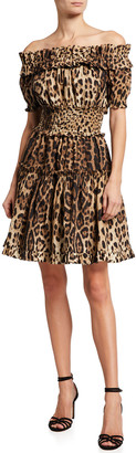 Dolce & Gabbana Leopard Off-the-Shoulder Mini Dress