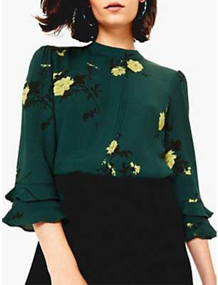 Oasis Floral Fluted Sleeve Top, Green