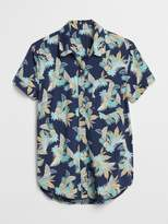 Gap Short Sleeve Tropical Print Button-Down Shirt