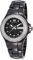 Technomarine Women&s Cruise Diamond Bezel Black Ceramic and Dial Watch