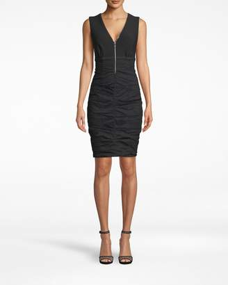 Nicole Miller Cotton Metal Sleeveless Zipper Dress