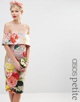 Asos WEDDING Printed Bardot Off The Shoulder Hitchcock Midi Pencil Dress