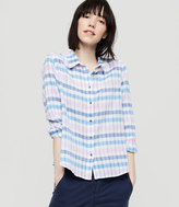 LOFT Lou & Grey Plaid Cropped Button Down Shirt