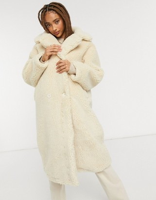 Monki Teddy borg coat in off white