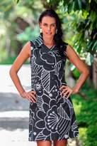 Balinese Black and White Short Cotton Print Wrap Shirtdress, 'Kuta Retro'