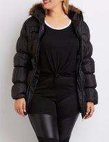 Charlotte Russe Plus Size Faux Fur-Trim Puffer Jacket