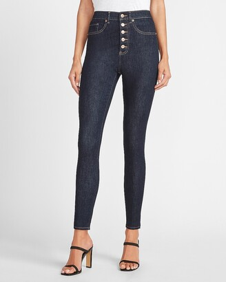 Express Super High Waisted Button Fly Skinny Jeans