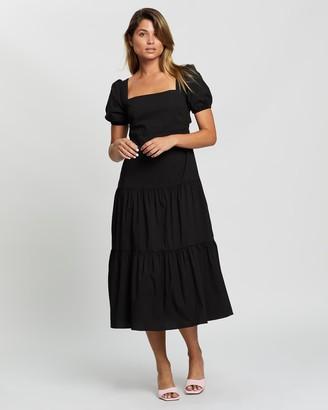 Glamorous Tie Back Tiered Midi Dress