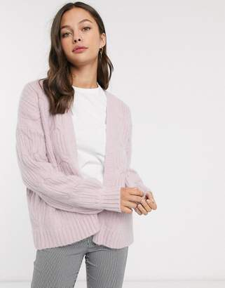 Wild Flower cable knit oversized cardigan-Purple