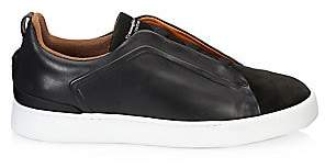 Ermenegildo Zegna Men's Triple Stitch Smooth Leather & Suede Sneakers